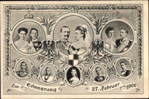 Ak Deutsches Kaiserpaar, Kaiser Wilhelm II., Kaiserin Auguste Viktoria, Silberhochzeit 1906
