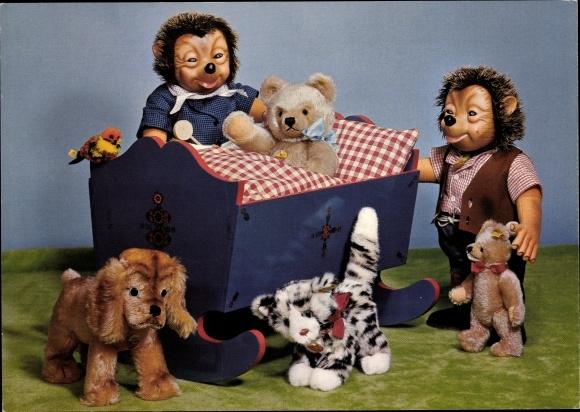 Ak Mecki der Igel, Steiff Puppen, Teddybären, Schaukelbett