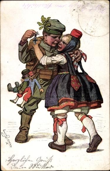Künstler Ak Beithan, Emil, Soldat mit Schwälmerin, Eisernes Kreuz