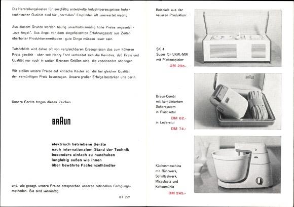 Klapp Ak Braun Rasierapparat, Schallplattenspieler, Küchenmaschine, Reklame