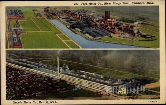 Ak Dearborn Michigan USA, Ford Motor Co., River Rouge Plant, Detroit Lincoln Motor Co., Autofabriken