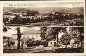 Ak Gernewitz Stadtroda an der Roda Thüringen, Gasthof von Louis Hesse, Panorama von Ort und Umgebung