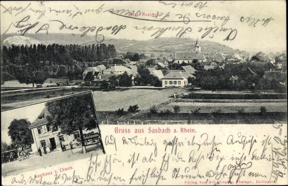 Ak Sasbach am Rhein, Gasthaus zum Löwen, Bierwagen, Gesamtansicht des Ortes
