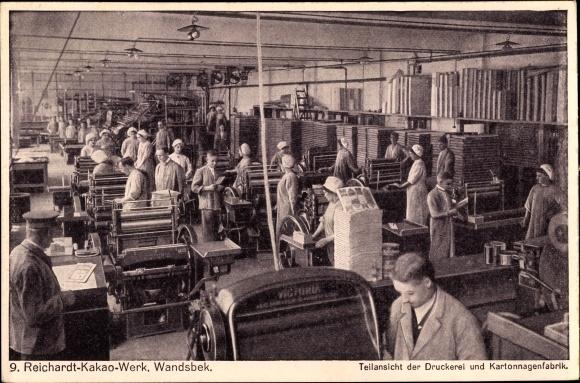 Ak Hamburg Wandsbek, Reichardt-Kakao-Werk, Teilansicht der Druckerei und Kartonnagenfabrik, Arbeiter