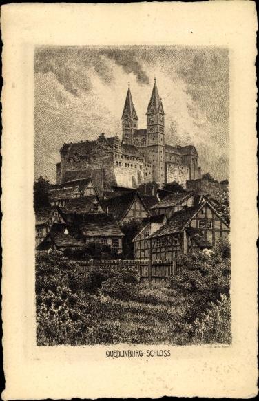 Künstler Ak Jander, Carl, Quedlinburg im Harz, Blick auf das Schloss, Fachwerkhäuser