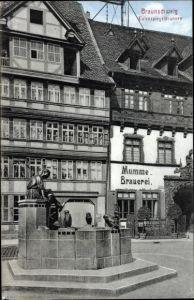 Ak Braunschweig in Niedersachsen, Blick auf den Eulenspiegelbrunnen, Mumme Brauerei