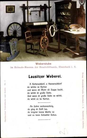 Ak Ebersbach Neugersdorf, Blick in die Weberstube des Heimatsmuseum, Lausitzer Weberei