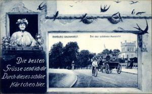 Passepartout Ak Hamburg Nord Uhlenhorst, Bei der schönen Aussicht, Straßenpartie, Schwalben