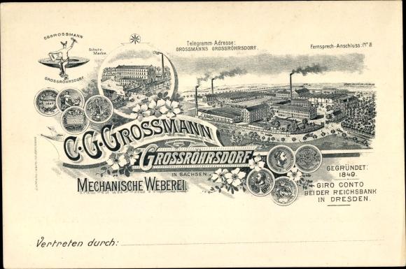 Litho Großröhrsdorf im Kreis Bautzen, Mechanische Weberei von C. G. Grossmann, Gesamtansicht