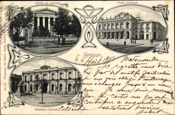 Ak Santiago de Chile, Escuela de medicina, Teatro municipal, Biblioteca nacional