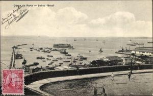 Ak Bahia Brasilien, Obras do Porto, Blick auf den Hafen