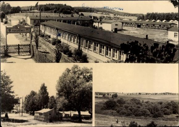 Foto Ak Brodowin Chorin Barnim, Pionierlager Makarenko, Bungalows, Eingang, Zelte, Jungpioniere