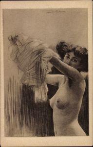 Künstler Ak Fenner-Behmer, Nach der Sitzung, Erotik, Aktmodell kleidet sich an, Busen