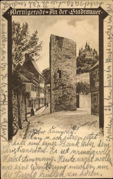 Künstler Ak Jander, Carl, Wernigerode am Harz, Partie an der Stadtmauer, Schloss