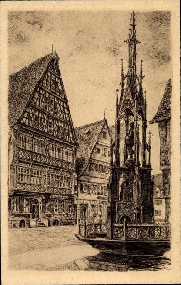Künstler Ak Dinkelsbühl im Kreis Ansbach Mittelfranken, Deutsches Haus mit Dinkelbauer Brunnen