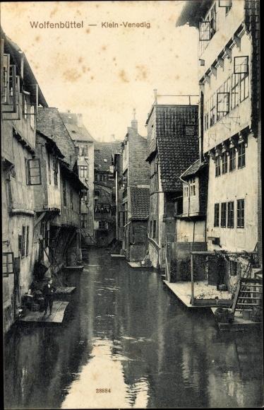 Ak Wolfenbüttel in Niedersachsen, Klein Venedig, Häuser am Fluss
