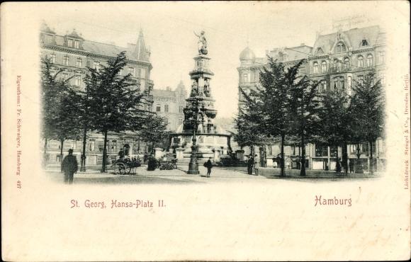 Ak Hamburg Mitte St. Georg, Partie auf dem St. Georg Platz II., Brunnen