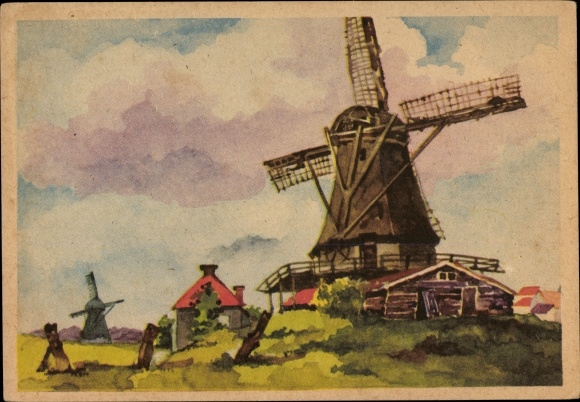 Ak Blick auf eine Windmühle, Dorf, Landschaftsidylle