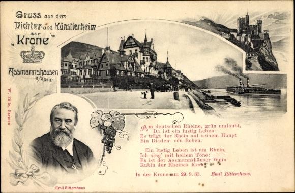 Gedicht Ak Assmannshausen Rüdesheim am Rhein, Künstlerheim zur Krone, Gedicht von Emil Rittershaus