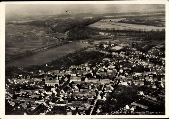 Ak Philippsburg am Rhein, Fliegeraufnahme von Ort und Umgebung