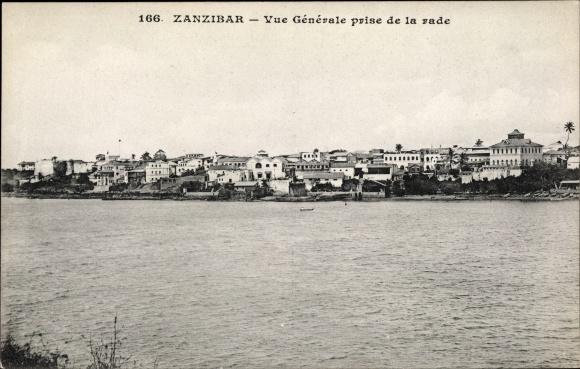 Ak Zanzibar Sansibar Tansania, Vue générale prise de la rade