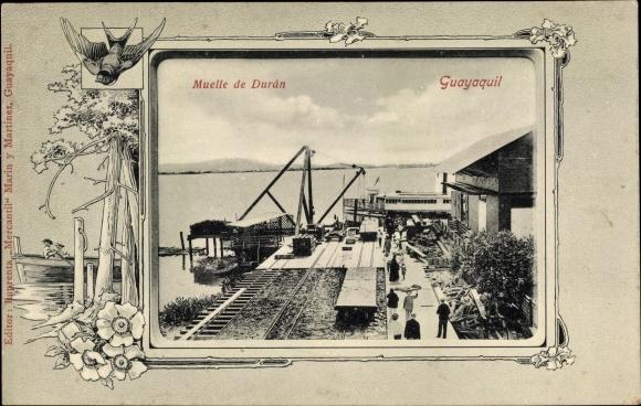 Passepartout Ak Guayaquil Ecuador, Muelle de Duran, Hafenszene