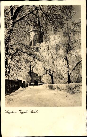 Ak Sayda im Erzgebirge, Kirche im Winter, Schnee