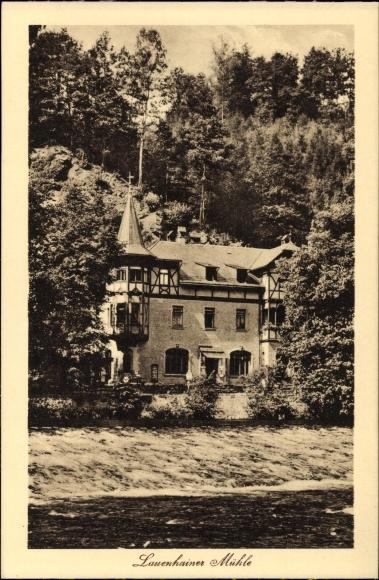 Ak Mittweida in Sachsen, Blick auf die Lauenhainer Mühle, Flusspartie