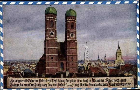 Künstler Ak Boettcher, Hans, München Bayern, Teilansicht der Stadt mit Blick auf die Frauenkirche