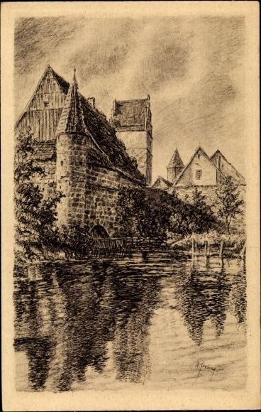 Künstler Ak Dinkelsbühl im Kreis Ansbach Mittelfranken, Blick zur Stadtmühle