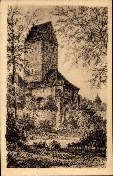 Künstler Ak Dinkelsbühl im Kreis Ansbach Mittelfranken, Blick auf das Rothenburger Tor