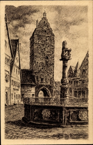 Künstler Ak Dinkelsbühl im Kreis Ansbach Mittelfranken, Wörnitztor, Innenansicht mit Löwenbrunnen
