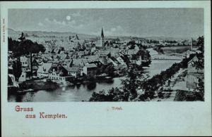 Mondschein Ak Kempten im Allgäu Schwaben, Totalansicht der Ortschaft, Kirche