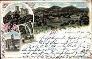 Litho Lutherstadt Eisenach in Thüringen, Wartburg, Luther Denkmal, Panorama von Grabenthal