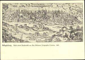 Künstler Ak Magdeburg Sachsen Anhalt, nach Kupferstich aus Dan. Meisners Sciographia Cosmica 1637