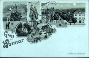 Mondschein Litho Weimar in Thüringen, Schloss, Denkmal, Goethes Gartenhaus, Schillers Wohnhaus