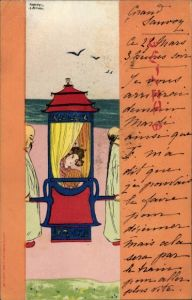 Künstler Ak Kirchner, Raphael, Geisha, Sänftenträger, Chinesen