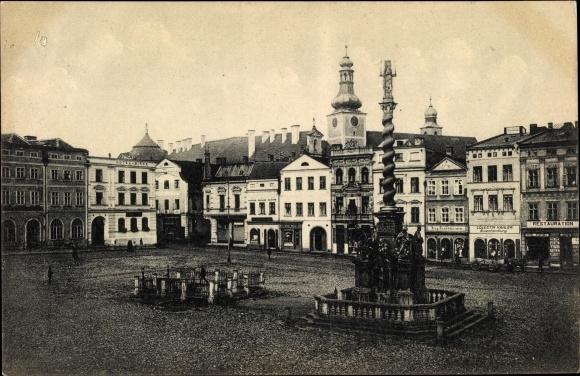 Ak Broumov Braunau Region Königgrätz, Ringplatz, Säule