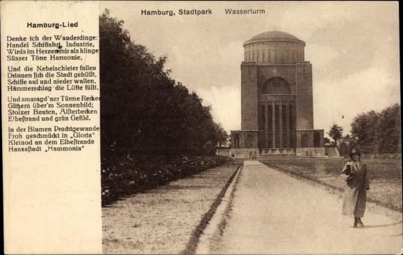 Lied Ak Hamburg Nord Winterhude, Stadtparkpartie, Wasserturm, Planetarium, Hamburg Lied