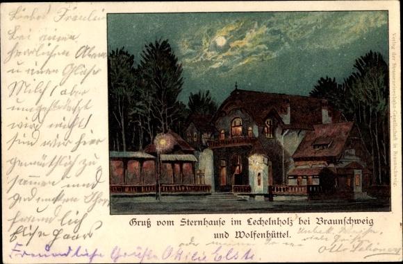 Litho Wolfenbüttel in Niedersachsen, Gasthaus Sternhaus im Lechelnholz bei Nacht