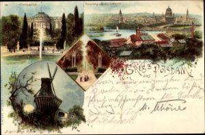 Litho Potsdam in Brandenburg, Sanssouci, Historische Mühle, Brauhausberg