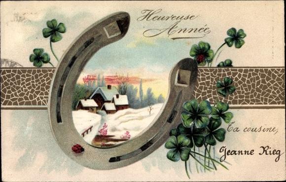 Präge Ak Glückwunsch Neujahr, Hufeisen, Kleeblätter, Winterszene