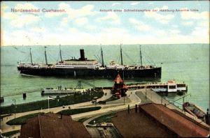 Ak Cuxhaven in Niedersachsen, Ankunft eines Schnelldampfers der Hamburg Amerika Linie
