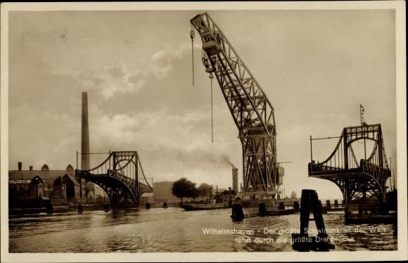 Ak Wilhelmshaven in Niedersachsen, Wasserpartie mit Schwimmkran und Drehbrücke