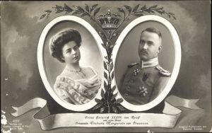 Passepartout Ak Prinz Heinrich XXXIII. von Reuss, Prinzessin Victoria Margarete von Preußen