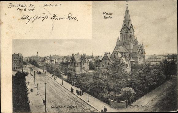 Ak Zwickau in Sachsen, Nordvorstadt, Glauchauer Straße, Moltkestraße, Moritzkirche