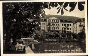 Ak Weggis Kt. Luzern Schweiz, Hotel und Pension du Lac, Seehof, Terrasse
