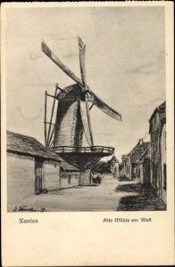 Künstler Ak Xanten am Niederrhein, Alte Mühle am Wall, Windmühle