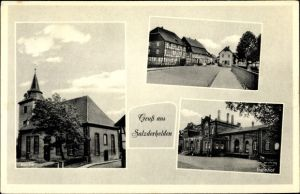 Ak Salzderhelden Einbeck in Niedersachsen, Stadtansichten, Kirche, Bahnhof