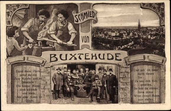 Passepartout Ak Buxtehude im Kreis Stade, Der Schmied, Totalansicht von der Stadt